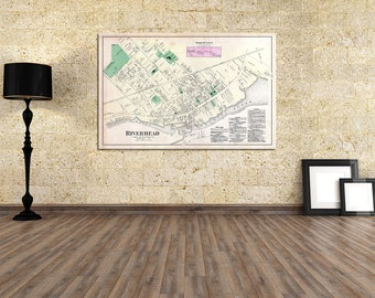 Vintage Print of a Map of Riverhead in Southold Suffolk County of Long Island New York. Free Shipping on all Items!