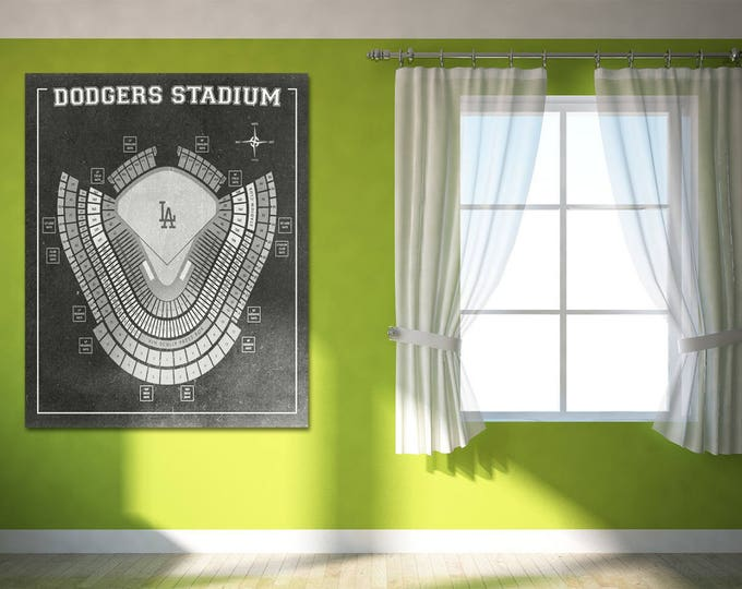 Vintage Print of Los Angeles Dodgers Stadium Seating Chart Baseball Blueprint on Photo Paper, Matte Paper or Stretched Canvas