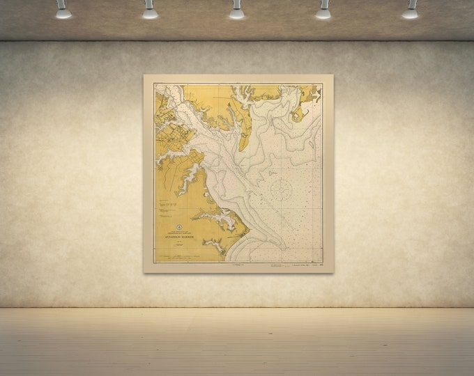 Print of Antique Map of Annapolis Harbor Maine Chesapeake on Photo Paper, Matte Paper or Stretched Canvas