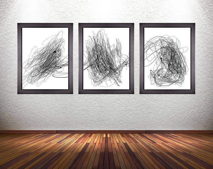 Set of 3 Minimalistic Abstract Line Art Prints on Premium Photo Paper, Stretched Canvas, or Matte Paper