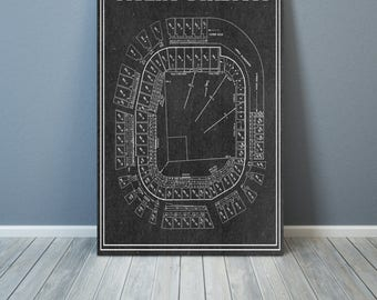 Vintage Print of Tigers Stadium Seating Chart Detriot Tigers Baseball Blueprint on Photo Paper, Matte Paper or Stretched Canvas