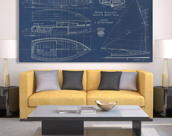 Print of Vintage CAPER Boat Blueprint from Motor Boating's Build a Boat Series on Your Choice of Matte Paper, Photo Paper, or Canvas