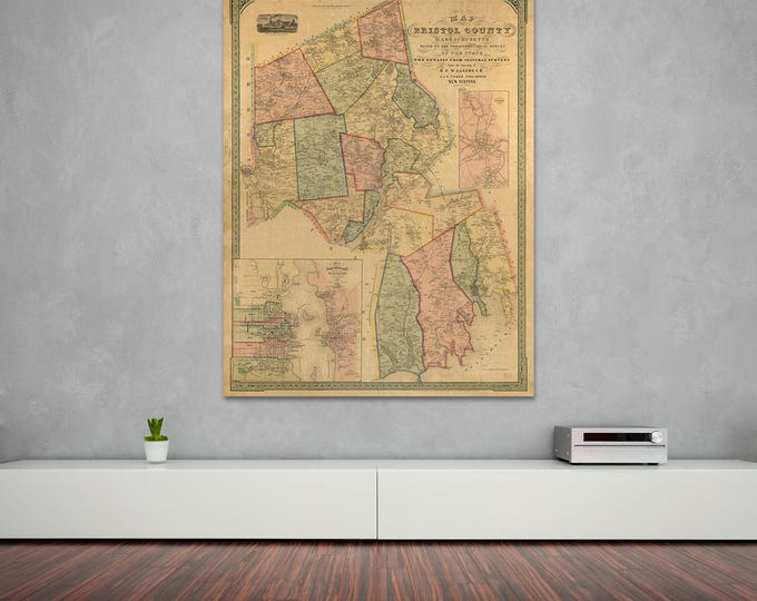 Print of Antique Map of Bristol County, Massachusetts a on Photo Paper, Matte Paper or Canvas