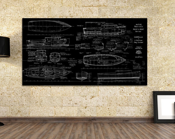 Print of Vintage CABRILLA Boat Blueprint from Motor Boating's Build a Boat Series on Your Choice of Matte Paper, Photo Paper, or Canvas