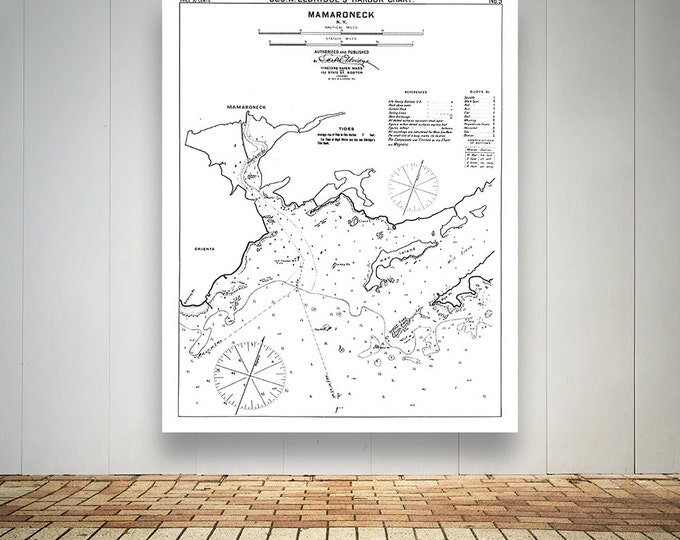 Antique Print of a chart of Mamaroneck in New York on your choice of Photo Paper, Matte Paper or Canvas Giclee