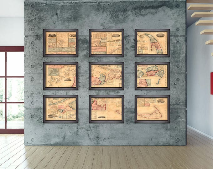 6 and 9 Panel Vintage Print of Barnstable, Duke, and Nantucket County  on Matte Paper, Photo Paper, or Stretched Canvas