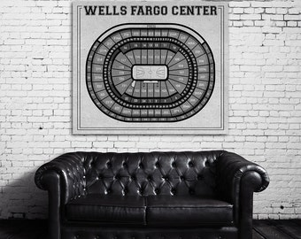 Vintage Print of Wells Fargo Center Seating Chart on Premium Photo Luster Paper Heavy Matte Paper, or Stretched Canvas. Free Shipping!