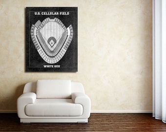 Clavininc vintage print of us cellular field seating chart chicago white sox baseball blueprint on photo paper malvernweather Images