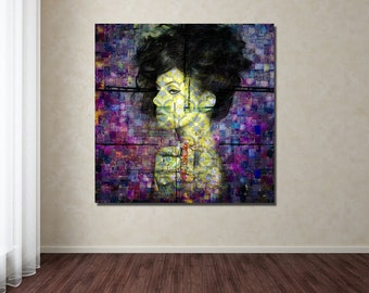 Print of Modern Art Pattern Collage with Female Profile. Available on Photo Paper, Matte Paper, and Canvas, Free Shipping!