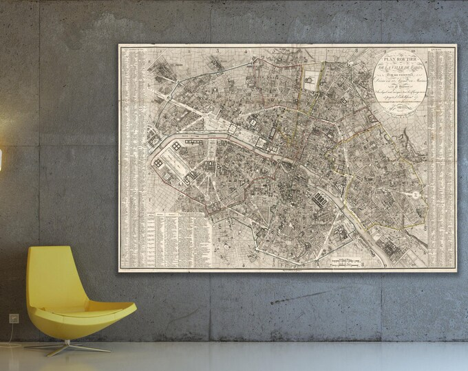 Vintage Antique Print of Detailed Paris Street Map on Matte Paper, Photo Paper or Stretched Canvas