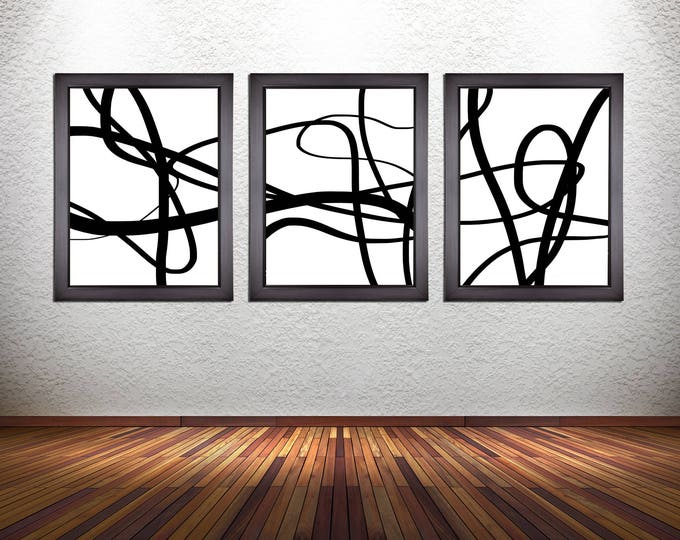 Set of 3 Minimalistic Abstract Line Art Prints on Premium Photo Paper, Stretched Canvas, or Heavy Matte Paper