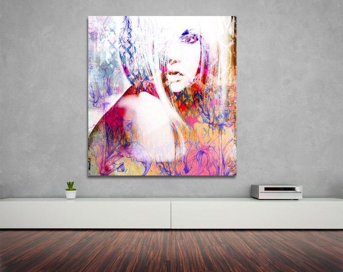 Fine Art Print of Distressed Female Portrait. Modern Art Painting Reproduction, Printed on Photo Paper, Matte Paper, or Stretched Canvas