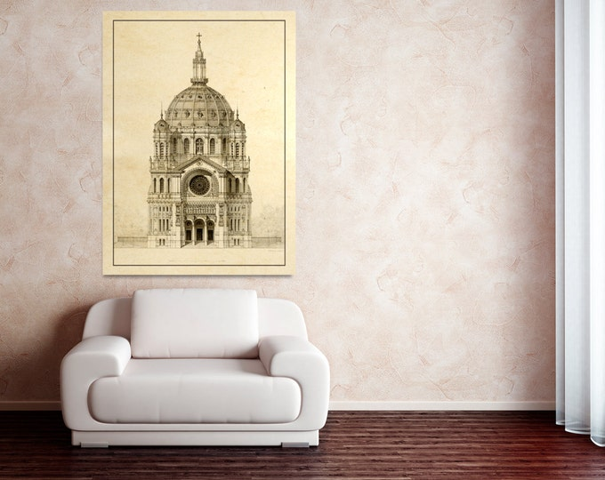 Antique Print of Church of Saint Augustin, Paris, elevation of the main facade on Photo Paper, Matte Paper, or Canvas