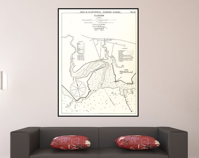 Vintage Antique Print of a Clinton, Connecticut nautical chart. on your choice of Photo Paper Matte Paper or Canvas Giclee