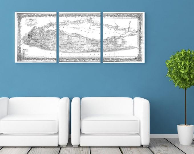 3 Panel Long Island Sound New York Antique Vintage Map Black and White Print on Canvas Giclee Home Decor Nautical Theme Art Deco