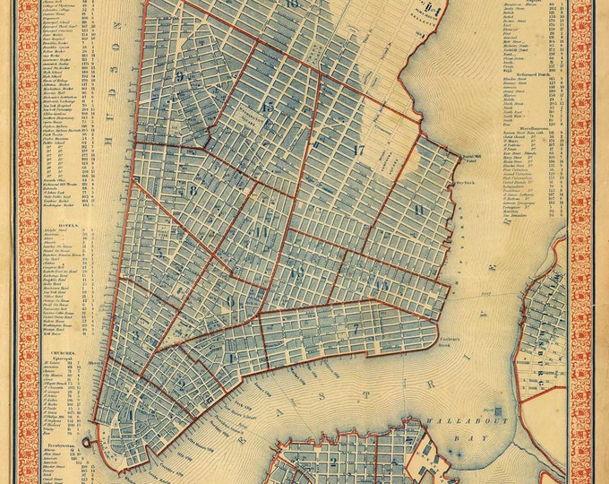 Print of Vintage New York City Map on Photo Paper, Matte Paper, and Stretched Canvas