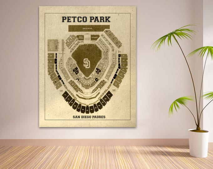 Vintage Print of Petco Park Seating Chart San Diego Padres Baseball Blueprint on Photo Paper, Matte Paper or Stretched Canvas