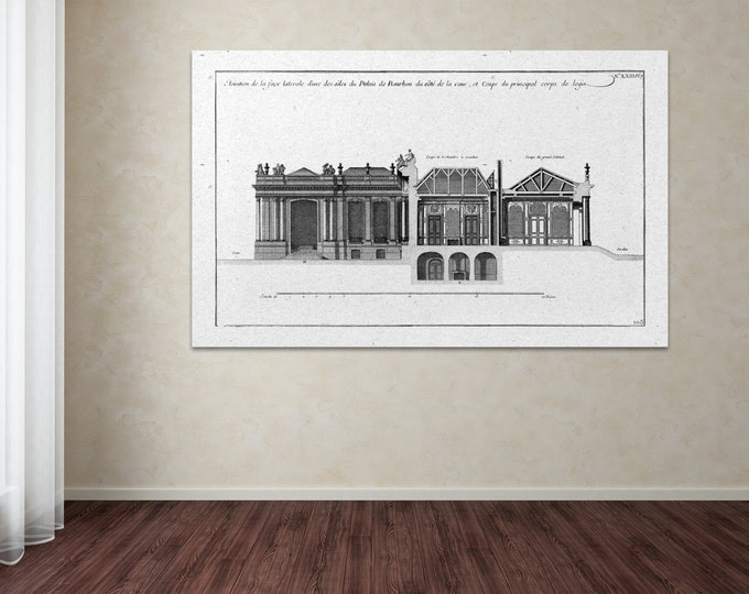 Antique Print of Palace of Bourbon 18th century facade on your choice of color and Photo Paper, Matte Paper or Canvas Giclee.