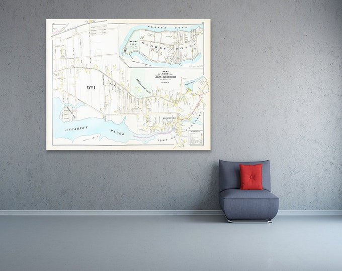Print of Antique Town Map of New Bedford Plate 4 Massachusetts on Photo Paper, Matte Paper and Stretched Canvas