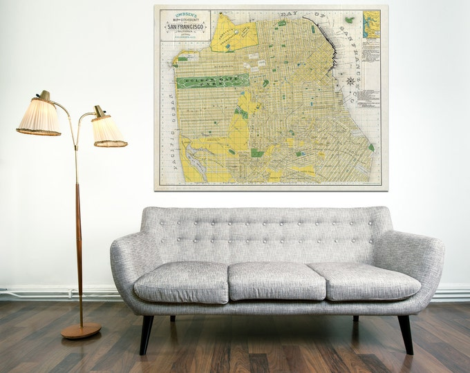 Print of Vintage San Francisco California Map on Your Choice of Photo Paper, Matte Paper, or Stretched Canvas