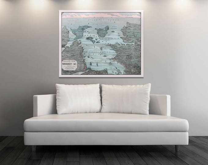Print of Antique Map of Narragansett Bay Balloon View on Photo Paper Matte Paper or Stretched Canvas