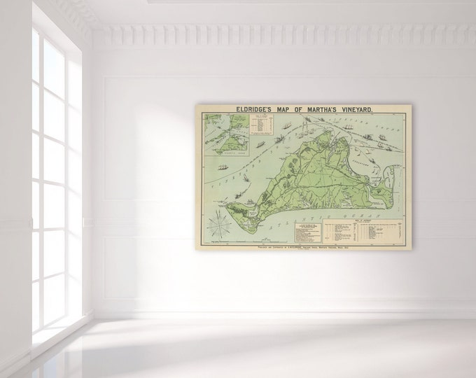 Antique Print of a Martha's Vineyard Map on your choice of Photo Paper, Matte Paper or Canvas Giclee