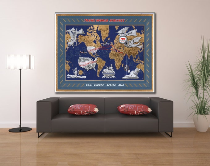Vintage Antique Print of Trans World Airlines; U.S.A., Europe, Africa & Asia on Photo Paper Matte Paper Canvas Giclee