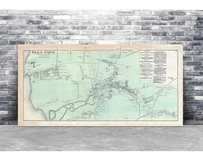 Vintage Antique Print of Glen Cove of Oyster Bay Long Island Map on Your Choice of Photo Paper, Matte Paper or Stretched Canvas