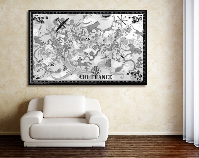 Vintage Antique Air France World Map Celestial Planisphere with Zodiac Symbols on photo paper Matte paper Canvas Art Home Decor Giclee Print