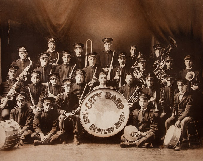Print of Vintage New Bedford Band Photo on Photo Paper, Matte Paper, or Stretched Canvas