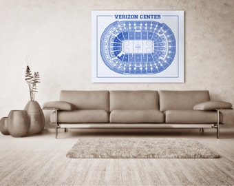 Print of Vintage Verizon Center Seating Chart on Photo Paper, Matte paper or Canvas Sports Tickets Art Home Line Drawing Washington Capitals