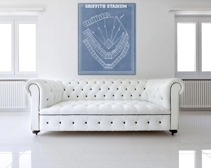 Vintage Print of Griffith Stadium Seating Chart Washington Senators Baseball Blueprint on Photo Paper, Matte Paper or Stretched Canvas