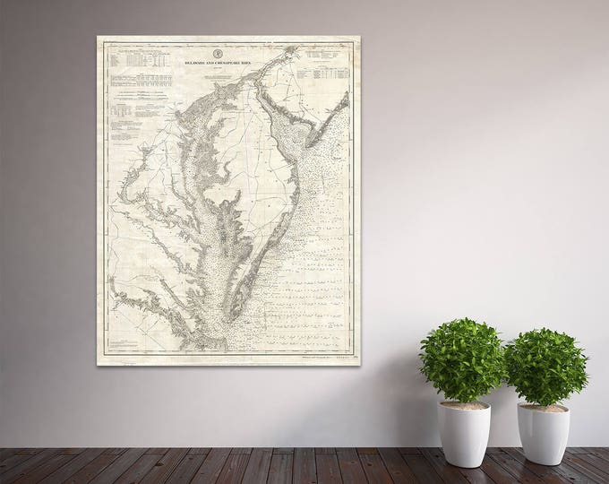Detailed Vintage Delaware and Chesapeake Bays Map Chart Print on Matte Paper, Photo Paper or Stretched Canvas