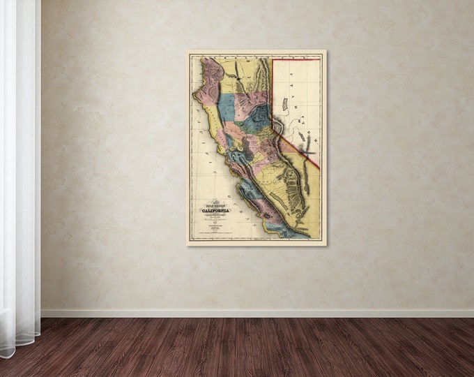 Vintage Style Print of California Gold Region Map on Premium Luster Photo Paper, Heavy Duty Matte Paper, or Stretched Canvas