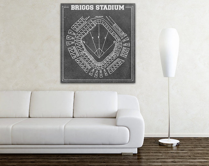 Print of Vintage Briggs Stadium Seating Chart on Photo Paper, Matte paper or Canvas