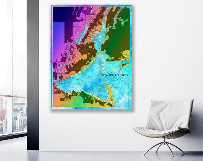 Artistic Print of New York Harbor Chart on your choice of Photo Paper, Matte Paper or Canvas Giclee