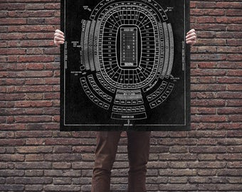 Vintage Style Print of Lambeau Field Seating Chart on Photo Paper, Matte Paper, or Stretched Canvas