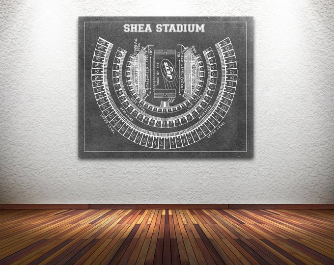 Print of Vintage Shea Stadium Seating Chart Seating Chart on Photo Paper, Matte paper or Canvas