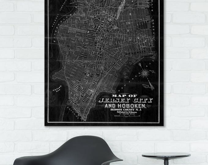 Print of Antique Map of Jersey City and Hoboken, New Jersey on Photo Paper Matte Paper or Stretched Canvas