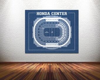 Vintage New Honda Center Anaheim Ducks Arena on Photo Paper, Matte paper or Canvas Sports Stadium Tickets Art Home Decor Line Drawing
