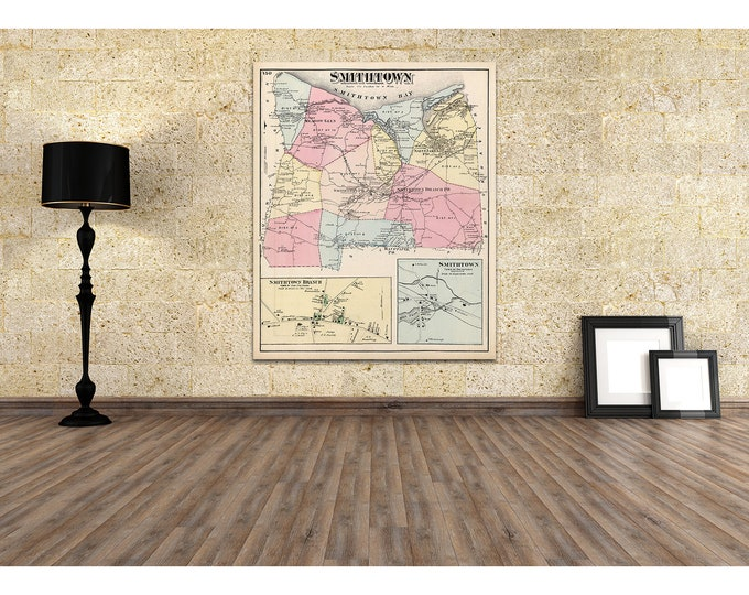 Print of Antique Map of Smithtown on Photo Paper, Matte Paper and Stretched Canvas