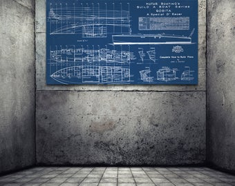 Vintage Print of ROSITA Runabout Diagram Line Drawing Schematic Blueprint on Matte Paper, Photo Paper or Stretched Canvas