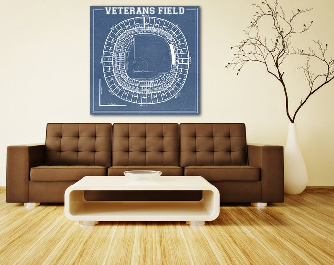Print of Veterans Field Vintage Blueprint Photo Paper, Matte or Canvas Sports Drawing Memorabilia Baseball Baseball