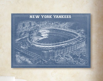 Print of Vintage Yankees Stadium Line Drawing on Photo Paper, Matte paper or Canvas