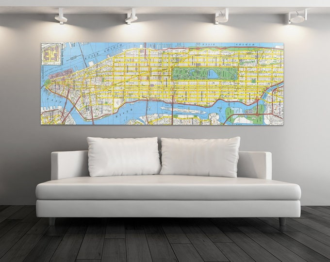 Print of Antique Map of New York, Featuring Hudson River and Central Park on Photo Paper Matte Paper or Stretched Canvas
