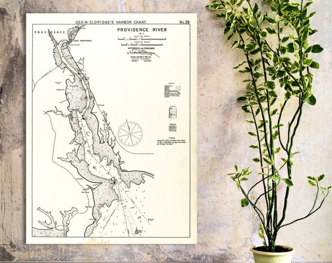 Antique Print of a Nautical Chart of Providence River in Rhode Island on your choice of Photo Paper, Matte Paper or Canvas Giclee