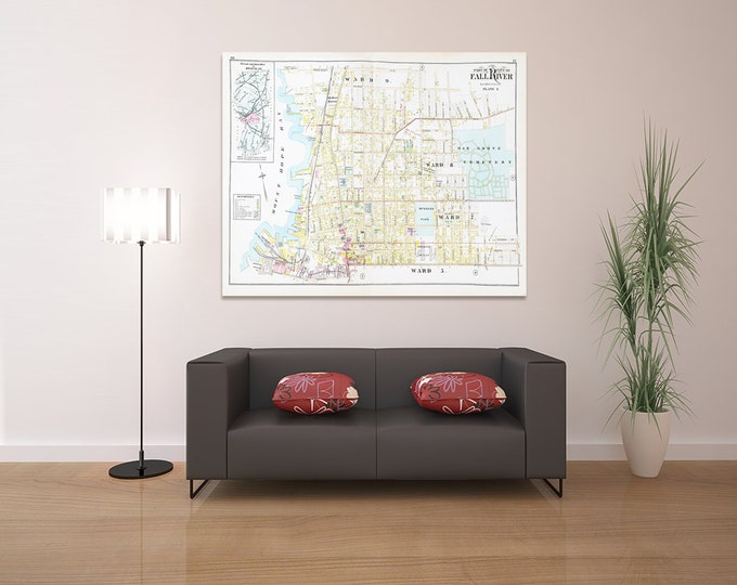 Print of Antique Map Featuring Part of Fall River Plate 3, Massachusetts, Bristol County on Photo Paper, Matte Paper or Stretched Canvas