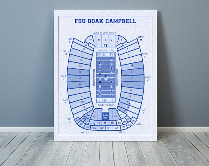 Vintage Style Print of Doak Campbell Stadium on Photo Paper, Matte Paper, or Stretched Canvas.