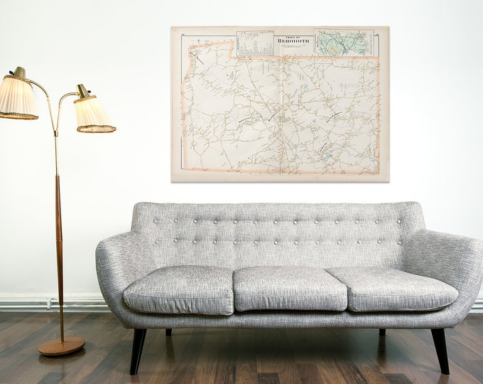Print of Antique City Map of Rehoboth Massachusetts on Photo Paper, Matte Paper and Stretched Canvas