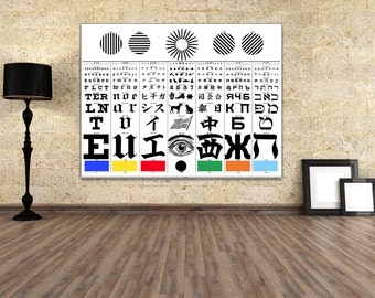 Antique Print of a German Eye Exam Chart developed by George Mayerle  in 1907 on your choice of Photo Paper, Matte Paper or Canvas Giclee